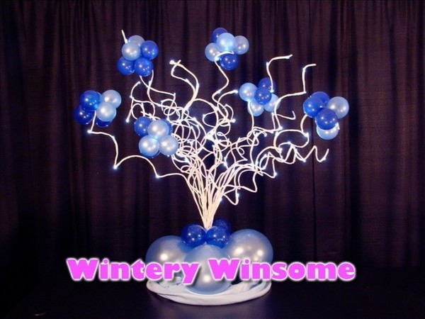 Wintery Winsome Balloon Centerpiece Design by Steven Jones