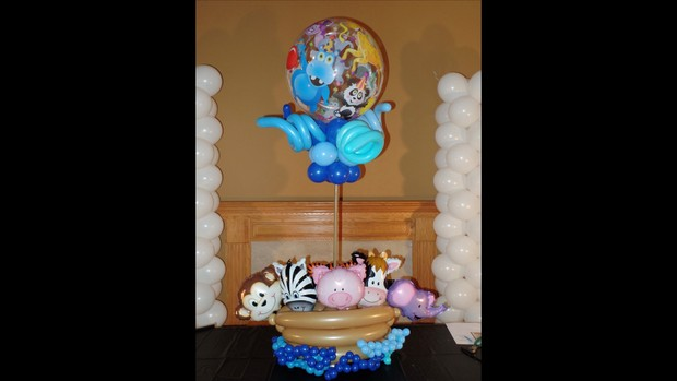 Noah's Ark Themed Balloon Centerpiece Design by Anne McGovern