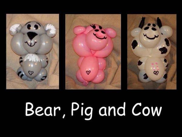Bear, Pig and Cow Balloon Animal Recipes by Vicky Kimble