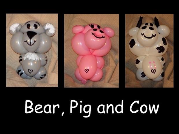 Bear, Pig and Cow Balloon Animal Recipes by Vicky Kimble