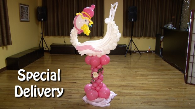 Special Delivery Stork Balloon Animal Sculpture by Alexa Rivera