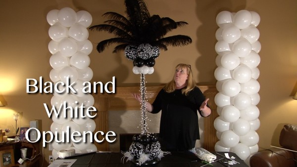 Black and White Opulence Balloon Centerpiece Design by Anne McGovern
