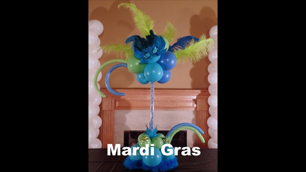 Mardi Gras Balloon Centerpiece Design by Anne McGovern