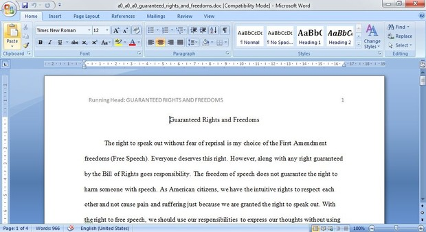 Reflect on the rights and freedoms