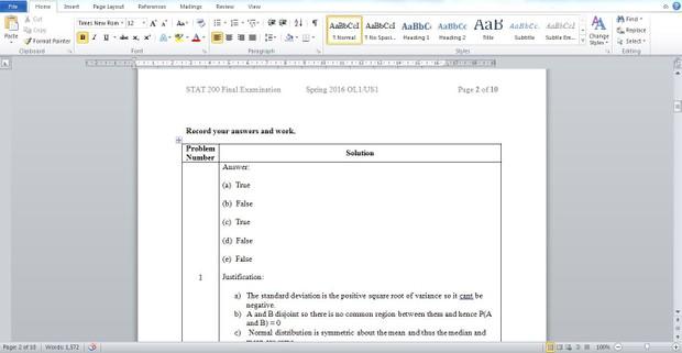 STAT 200: Introduction to Statistics  Final Examination, Spring 2016 OL1/US1