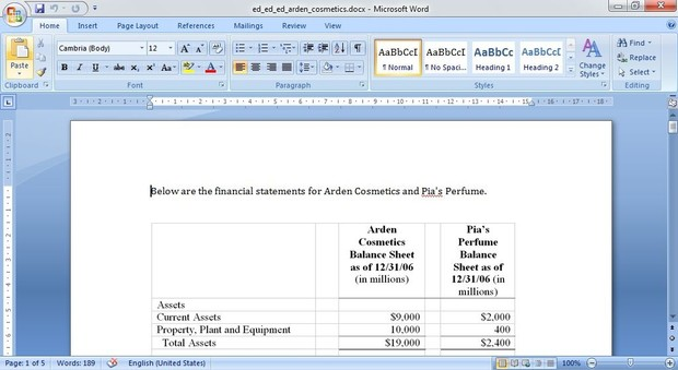 financial statements for Arden Cosmetics and Pia's Perfume