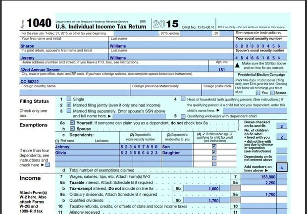 Income Tax Return Assignment Spring 2016 - Jeremy and Sharon (Form2015)