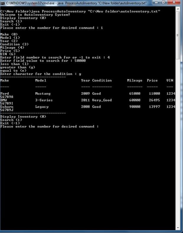 Module 5 AutoInventory Java code