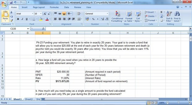 P4-23 Funding your retirement You plan to retire in exactly 20 years