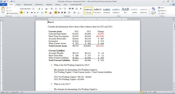 (Solved) Solution Consider the information below from a firm's balance sheet for 2011 and 2012