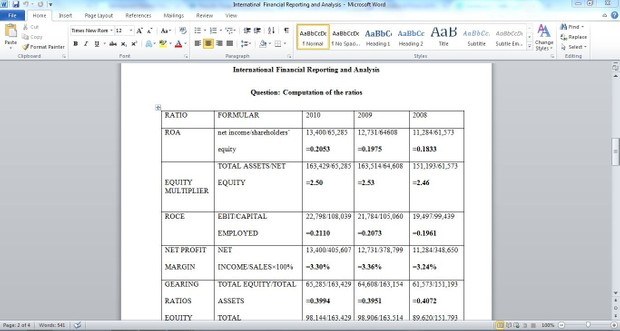 International Financial Reporting and Analysis Week 5: Hand-In Assignment (Make As Refference Only)