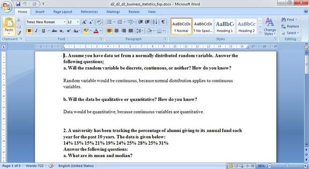Business Statitistics Question