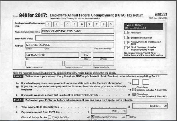 runson moving company form 940 and schedule a