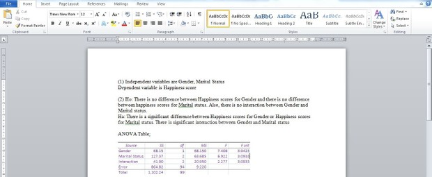 Assignment 2: Analyzing with ANOVA