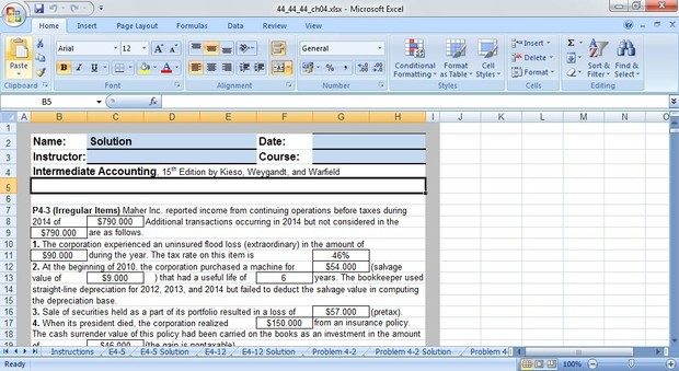 Intermediate Accounting, 15th Edition by Kieso, Weygandt, and Warfield - Excel Template Chapter 4