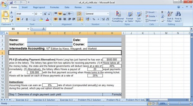 Intermediate Accounting, 15th Edition by Kieso, Weygandt, and Warfield - Excel Template Chapter 6