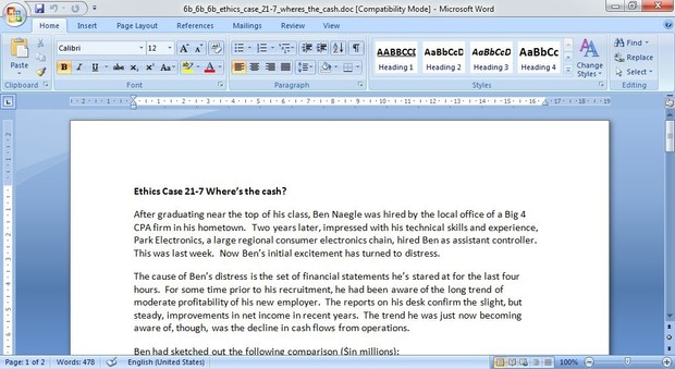 Ethics Case 21-7 Where's the cash?
