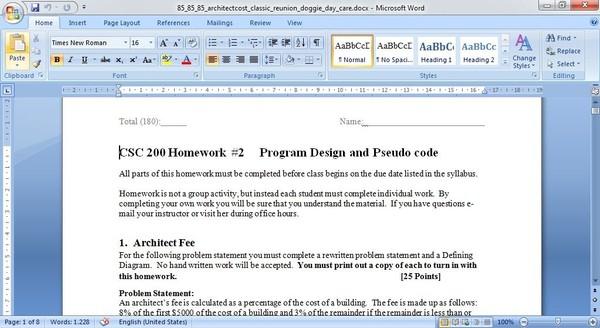 CSC 200 Program Design and Pseudo code