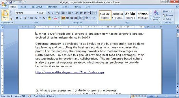 What is Kraft Foods Inc.'s corporate strategy?