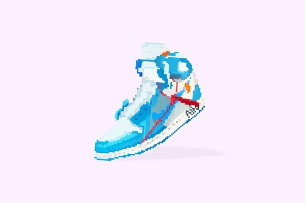 Air Jordan Off White Retro Pixel Art 4k Desktop Wallpaper Pink Backing