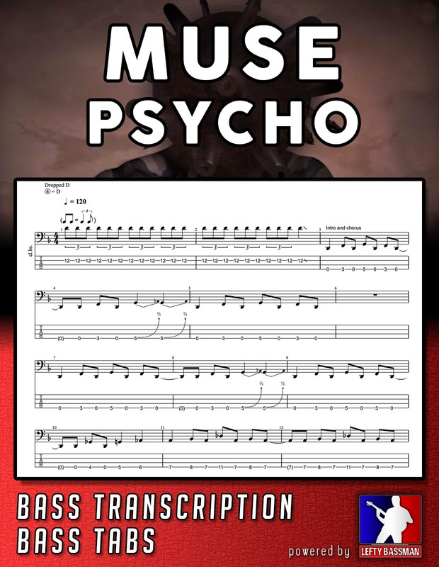 Muse - Psycho // Bass Transcription and Tabs