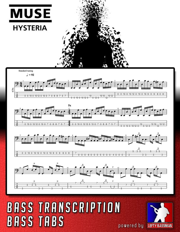 Muse - Hysteria // Bass Transcription and Tabs
