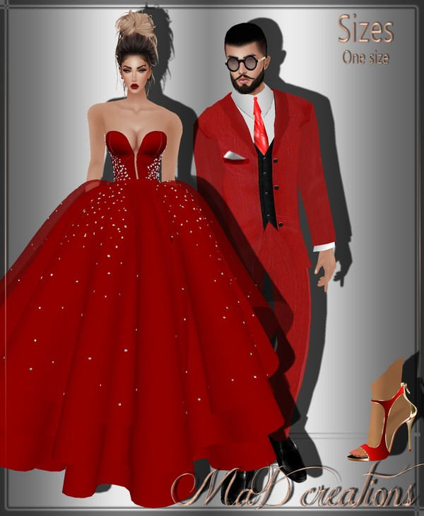 MaD Red Set (2 dress _2 suits_2 shoes) ONLY CATTY