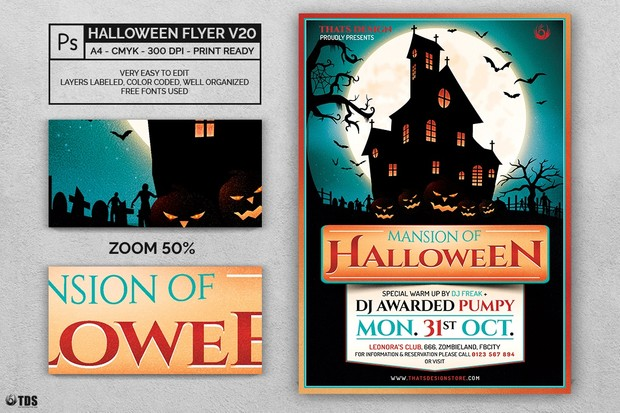 halloween flyer template v20 thats design store