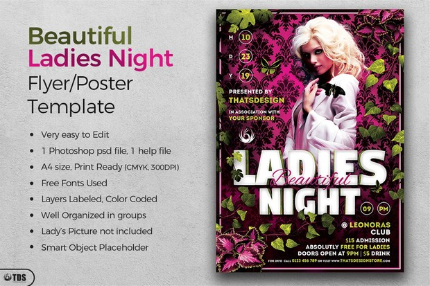 Beautiful Ladies Night Flyer Template - Thats Design Store