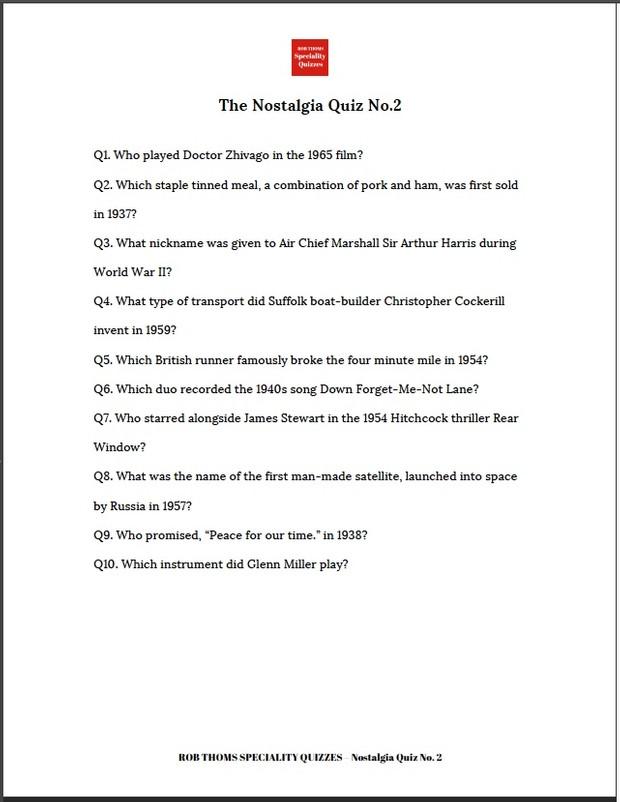 Rob Thoms Nostalgia Quiz No. 2