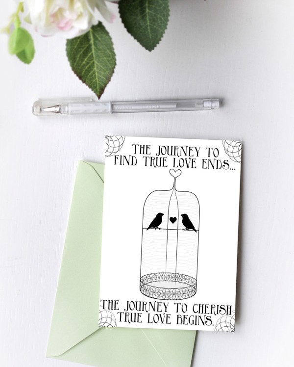 Journey to Find Love Birdcage Blank Card
