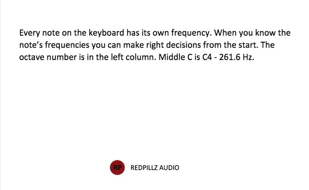 Note to frequency chart by Redpillz Audio