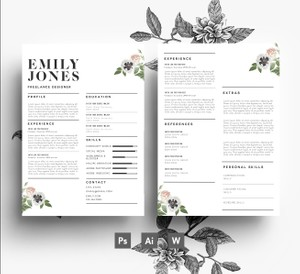 2 page CV Template + 1 page Cover Letter, Word + PSD, 3 page Resume Template