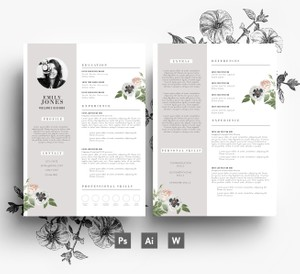Instant Digital Download, 2 page CV Template + 1 page Cover Letter, Word + PSD, Professional Resume