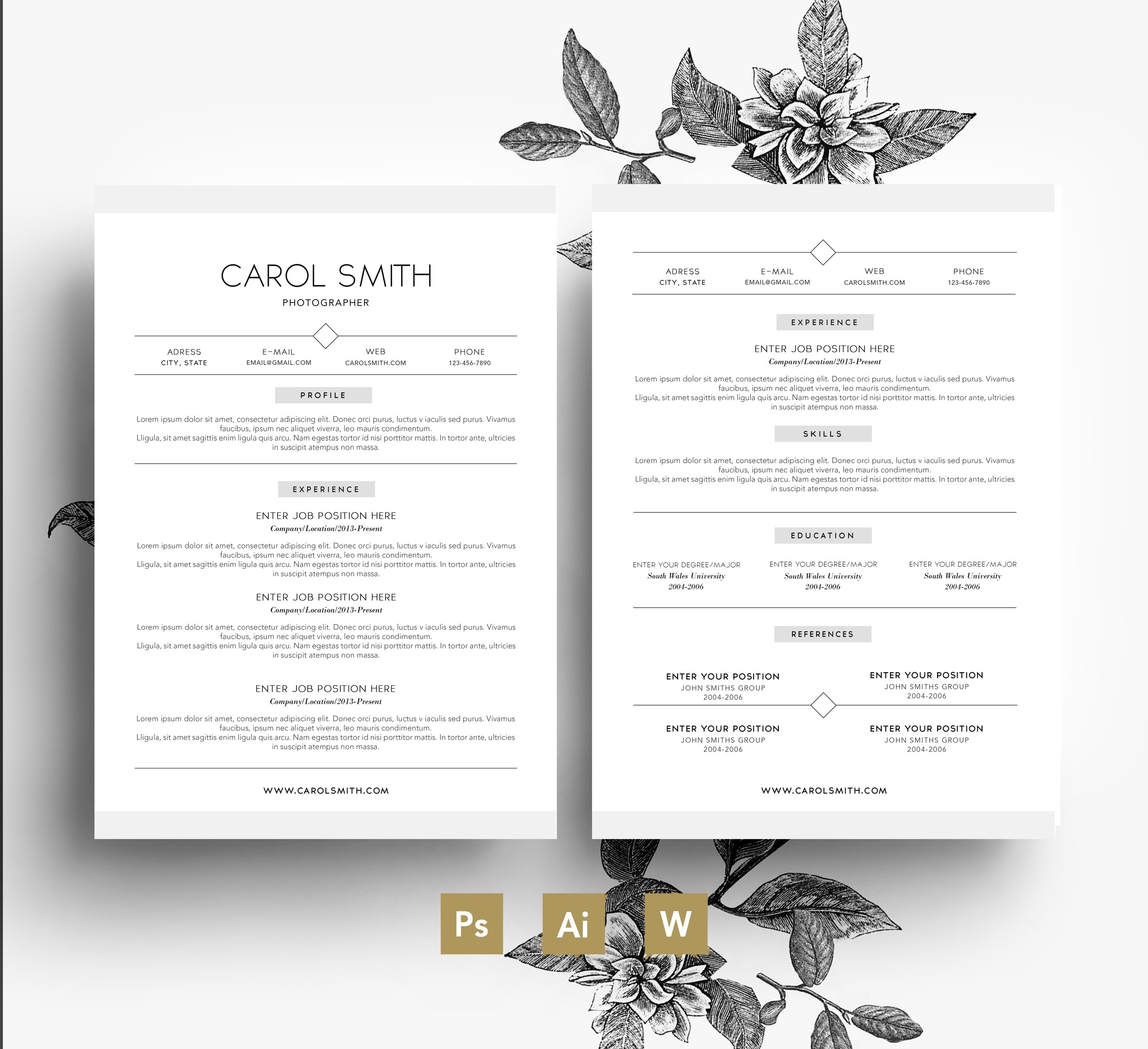 2 page cv template   cover letter   3 psd files