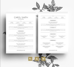 2 page CV Template + Cover letter/ 3 PSD Files