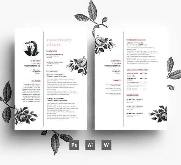 Clean 3 page Resume Template/ 2 page Resume + Cover Letter