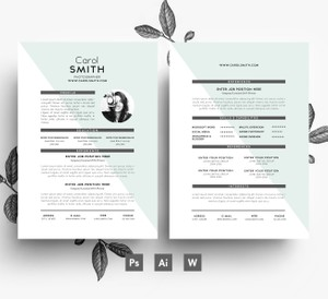 Editable 2page Resume Template/ Cover letter/ Easy editable 3 page PSD File