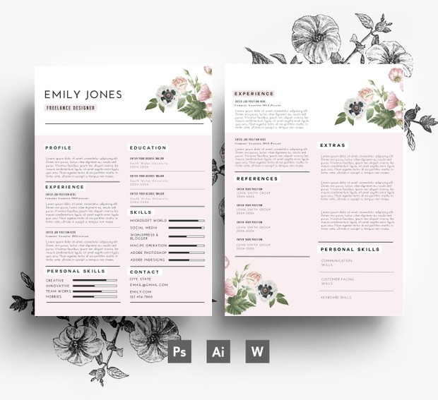 CV Template / Cover Letter template / Word + PSD/ Fonts included