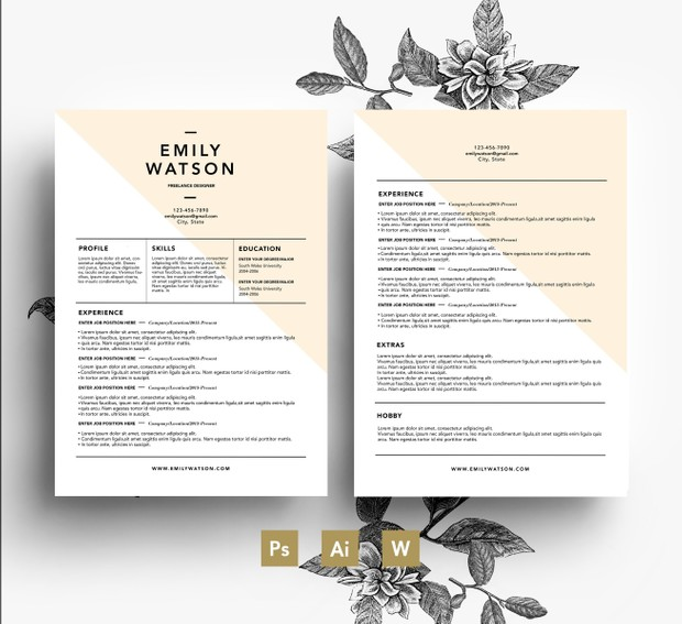 Easy editable Resum Template + Cover Letter/ PSD/ Fonts included / Instant Digital Download