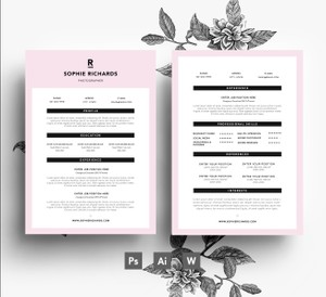 Modern Resume Template/ Instant digital download 3 page PSD file