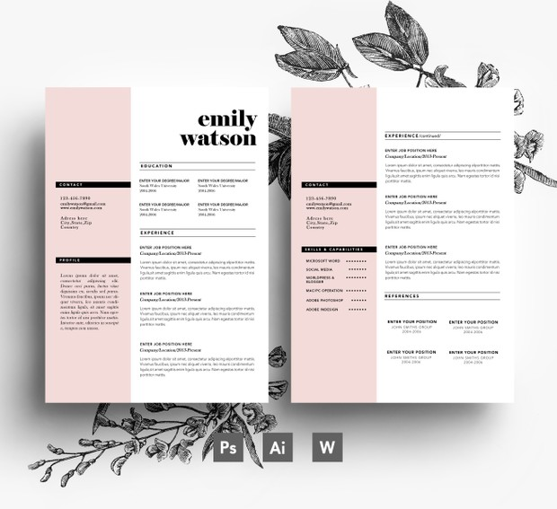 2 page Resume + 1 page Cover letter/ PSD/ Fonts included / Instant Digital Download