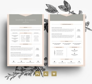 Proffesional 2 page Resume Template + 1 pgae Cover letter/ Easy Editable PSD template