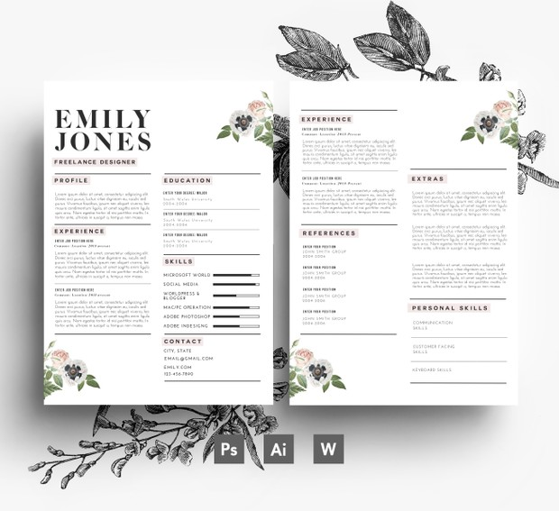 Custom CV Template / Custom Cover Letter template ( 3 page pack )/ Word + PSD