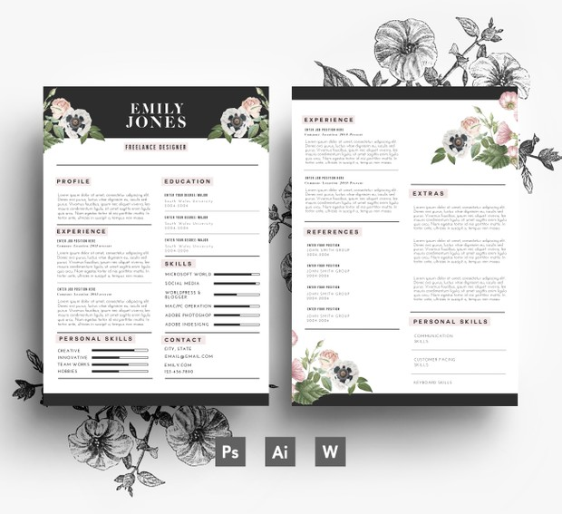 Resume Template / CV Template + Cover Letter ( 3 page pack )/ Fonts included