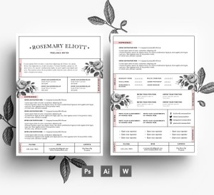 Creative CV template/ 2 page resume + Cover Letter/ Instant Digital Download