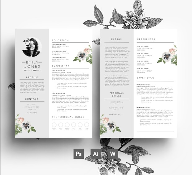 Word format + PSD / CV Template + Cover Letter, 3 page Resume Template