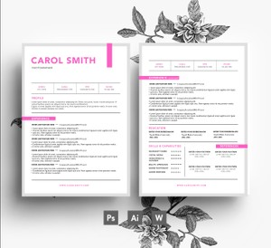 Creative 2 page Resume Template + Cover letter/ Easy Editable PSD template