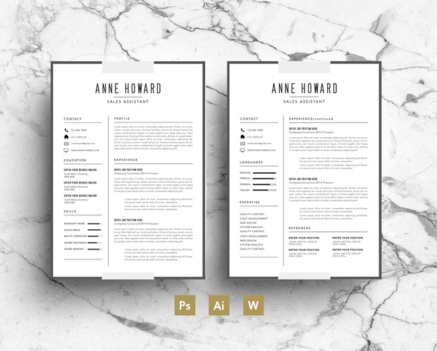 Resume template / Modern CV template / Business Card / Cover Letter / Instant Digital Download