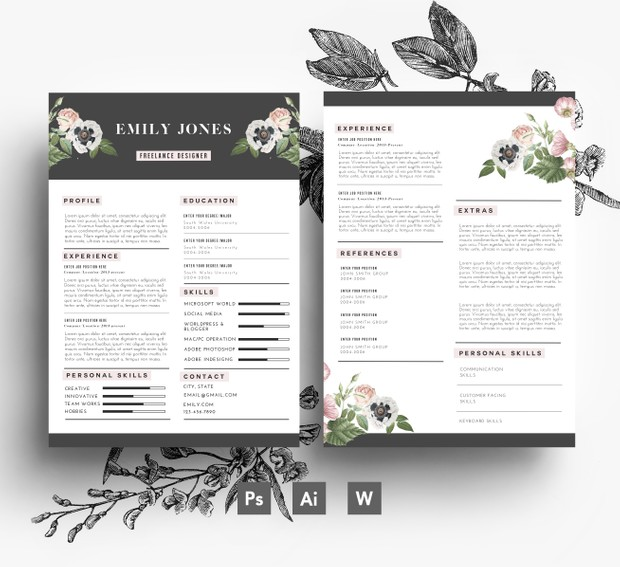 CV Template / Cover Letter template / Word + PSD/ Fonts included / Instant Digital Download/